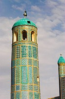 Minaret, Shrine of Hazrat Ali, who was assassinated in 661, Mazar_I_Sharif, Balkh province, Afghanistan, Asia