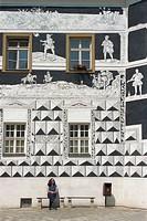 Sgraffitoed Canons House, Namesti, Mikulov, South Moravia, Czech Republic, Europe