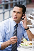 Businessman talking on a mobile phone during lunch