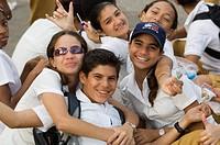 School kids at a march, Havana, Cuba, West Indies, Central America