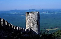 Extterior of tower and wall of Bezdez Castle with landscape of valley below, Bohemia, Czech Republic, Europe