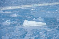 Icebergs and pack ice seen on heli flight from Russian icebreaker, Kapitan Khlebnikov, Weddell Sea, Antarctica, Polar Regions
