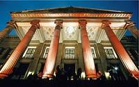 Illuminated classicistic column hall of the German Schauspielhaus, Berlin