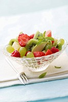 Fruit salad in glass dish