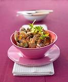 Aubergine and clam curry