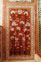 Detail of a painted wall in the Sheesh Mahal mirrored hall hall of mirrors, Kuchaman Fort, Rajasthan state, India, Asia