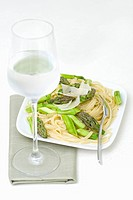 Tagliatelle with green asparagus, Parmesan & a glass of water