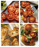 Making tomatoes on roasted garlic bread