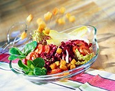 Colourful salad with croutons