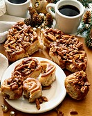 Christmas Breakfast, Pecan Sticky Buns on a Plate and Cutting Board, Coffee