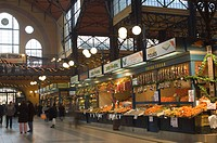 Fruit, food stands at Central Market, Budapest, Hungary, Europe