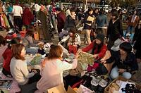 Flea market, City Hall, Kyoto city, Honshu, Japan, Asia