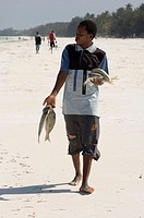 A man walking along the beach with his catch of the day, Jambiani, Zanzibar, Tanzania, East Africa, Africa