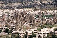 Volcanic tuff pillars and erosion surrounding Goreme, Cappadocia, Anatolia, Turkey, Asia Minor, Asia