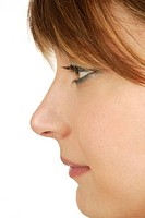 Profile view of a woman´s face.