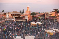 Elevated view over the Djemaa el_Fna, Marrakech Marrakesh, Morocco, North Africa, Africa