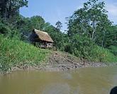 River bank settlement, Amazon, Peru, South America