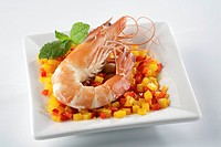 Cooked and half peeled shrimp from a bio breeding _ BPTO, body peeled tail on