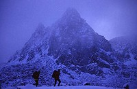 Silhouette of hikers walking in snow, Dusy Basin, Fresno, California, USA
