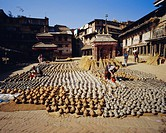 Making pottery at Potter´s Square, Bhaktapur, Nepal, Asia
