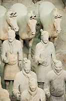 Pit 1 of Mausoleum of the First Qin Emperor housed in The Museum of the Terracotta Warriors, opened in 1979, near Xian City, Shaanxi Province, China, ...