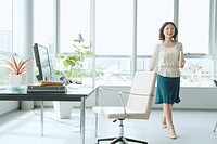 The Business Woman Who Walks Inside The Office