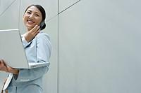 Japanese Businesswoman Working On Street