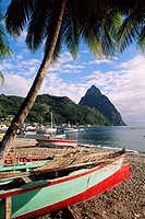 Fishing boats at Soufriere with the Pitons in the background, island of St. Lucia, Windward Islands, West Indies, Caribbean, Central America