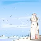 seashore, season, sea, snow, winter, seagull, background
