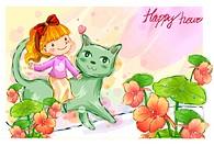 imagination, fairy tale, fancy, cat, child, nature