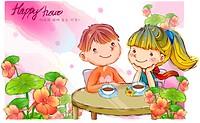 couple, fairy tale, boy, girl, child, nature