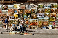10855240, Artist, Performer, painting, town wall,