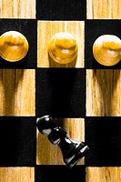 Close_up of chess pieces on a chessboard