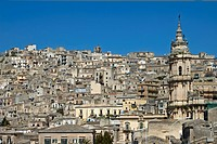 View at the old town with the San Giorgio Cathedral Modica Italy