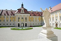 View from the portal of the church to the inner courtyard of the baroque Benedictine monastery of Seitenstetten Lower Austria