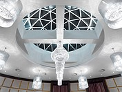 Detail circular ceiling with crystal chandeliers