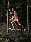 Athletes in forest