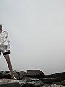 Swimmer on rocks