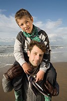 Father and son by the sea