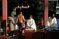 Worshippers at Toshogu Temple, Nikko, Japan