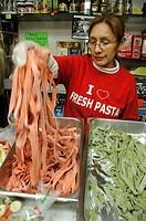New York City USA, picking up fresh pasta at Piemonte Ravioli shop Little Italy