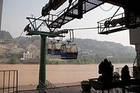 Gondolas acrossing the Yellow River, Lanzhou, China