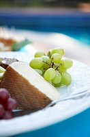 Green Grapes on Plate With Cheese Wedge
