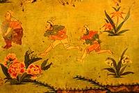 Tibetan Buddhism naive wall painting running men Jokhang Lhasa Tibet China