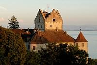 The historical castle in the dusk, Meersburg, Baden Wuerttemberg, Germany, Europe.