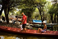 Canoe, People, Barreirinha Community, Macaco River, Manaus, Amazônia, Amazonas, Brazil
