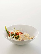 Red & green pepper and onion salad with chicken breast