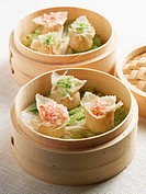 Crab and Rice Dumplings with Scallions in a Steamer