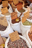 Various spices on a market stall France