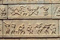 Sculptures on the outer wall of the Ramachandra temple  in Hampi, Karnataka.Ramachandra temple, also called Hazara Rama (´One thousand Ramas´), was bu...
